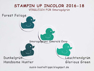 Farbvergleich Stampin' Up Incolor 2016-18, color comparison emerald envy smaragdgrün
