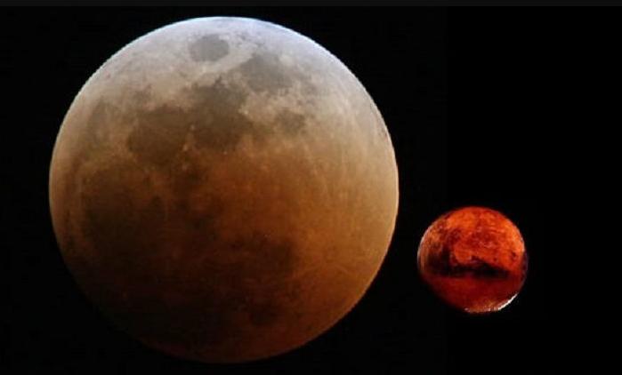L'eclissi lunare e Marte, gli spettacoli astronomici di questo venerdì.