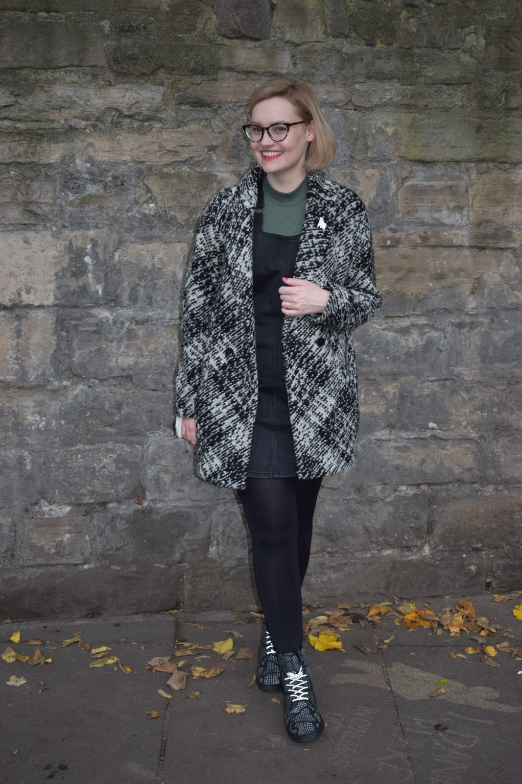 Dr Martens Newton reflective boots, Scottish winter style, Halloween collection, denim pinafore trend, Scottish style blogger, UK fashion trends, dressing for cold weather in Scotland, casual winter style