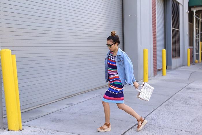 Joe fresh Print Crepe Dress, quay sunglasses, ann taylor laser cut crossbody tote, sole society sandals, denim jacket, spring style, nyc fashion blog