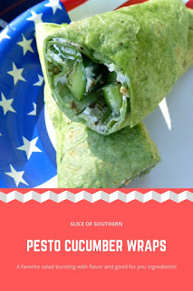 Pesto Cucumber Wraps:  Crisp, cooling cucumber spears are wrapped in a pesto, cream cheese dressed spinach wrap.  Oh man is this good! - Slice of Southern