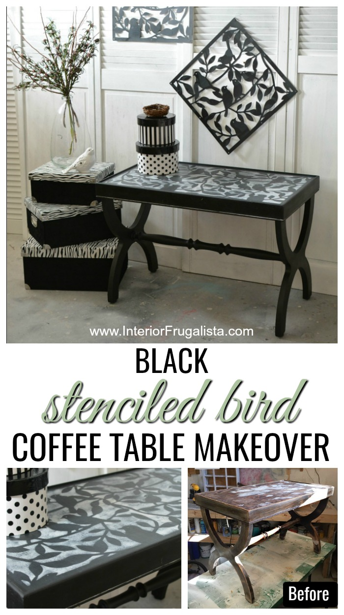 Black Stenciled Bird Coffee Table Makeover