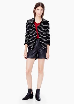 Mango Striped Textured Jacket