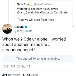 davido calls twitter user a fool