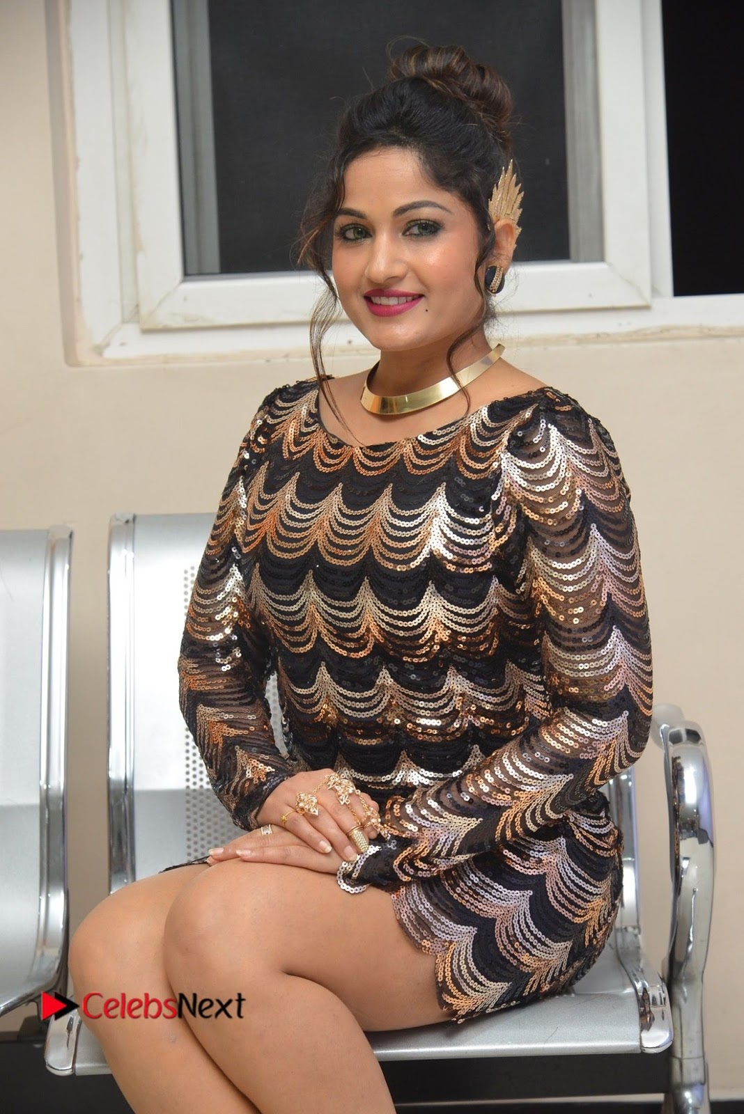 Actress Madhavi Latha  Pictures in Short Dress at On Mona Birthday Premiere  0044.JPG