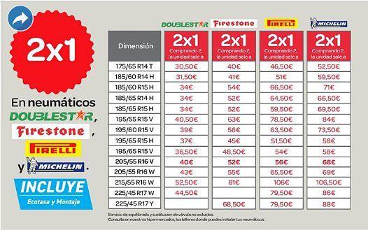 Folleto-Carrefour- medidas- y- precios -Michelin-Pirelli-Firestone