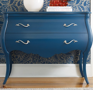 baers Mélange Regatta Blue Bombe Chest with 2 Drawers