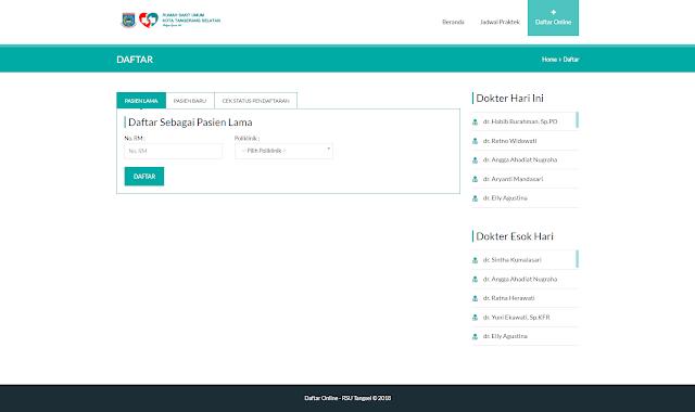 Pendaftaran Online RSUD Tangsel