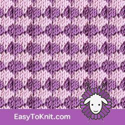 Textured Knitting 26:  Dip-Stitch Check | Easy to knit #knittingstitches #knittingpattern
