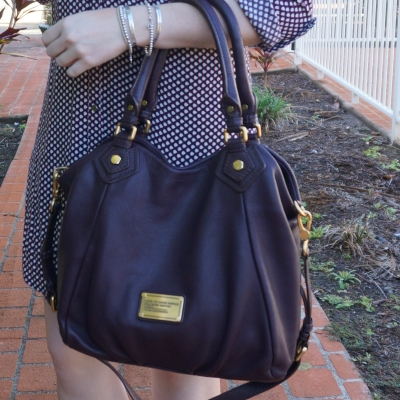 Marc By Marc Jacobs Classic Q Fran bag with gold hardware in carob brown | away from the blue