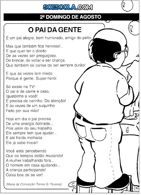 confira esse lindo Poema para o dia dos pais com desenho para colorir