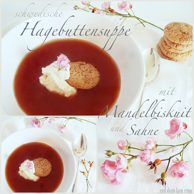 Hagebuttensuppe, hemlagad nyponsoppa, gammaldags, traditionell schwedisch, Schweden, Rezept, Mandelbiskuit, Macaron, Bittermandel,