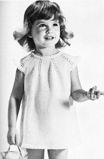 The Vintage Pattern Files: Free 1960's Knitting Pattern - Little Girls Yoked Dress