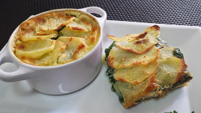 gratén de patatas y espinacas, recetas fáciles con patatas