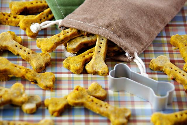 Homemade pumpkin dog treats shaped like bones