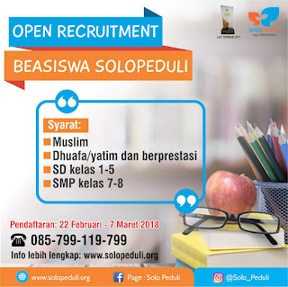 Open Recruitmen Beasiswa Solopeduli Tahun 2018