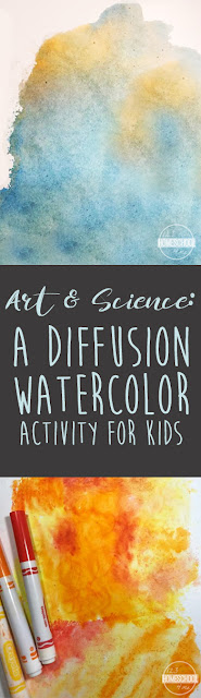 Diffusion Watercolor Art Project for kids - such a fun process to learn about science and art with just markers, sandwich bag, and cardstock paper.