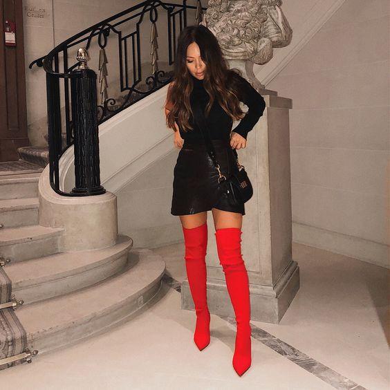 Marianna hewitt Red Thigh High Boots