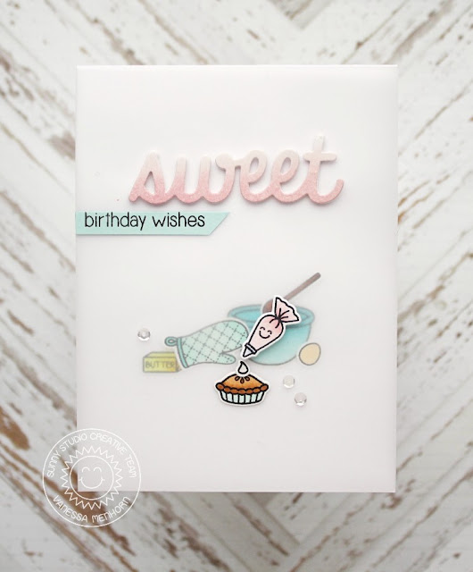 Sunny Studio Stamps: Blissful Baking Sweet Birthday Wishes card by Vanessa Menhorn.