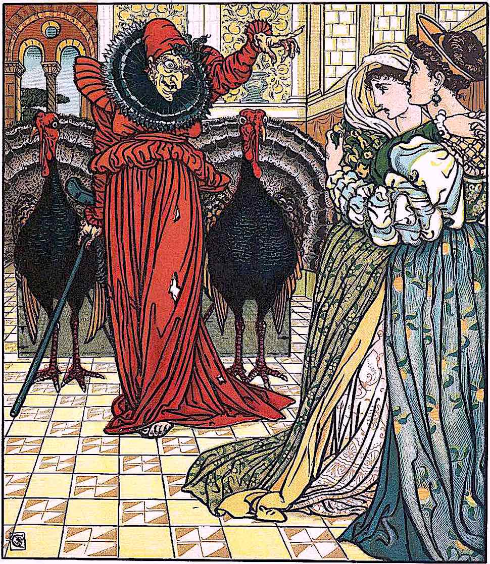 Walter Crane, a red witch with turkeys