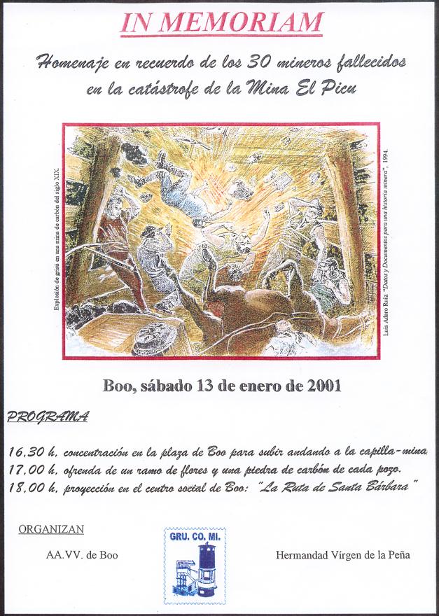 Cartel homenaje mineros Boo