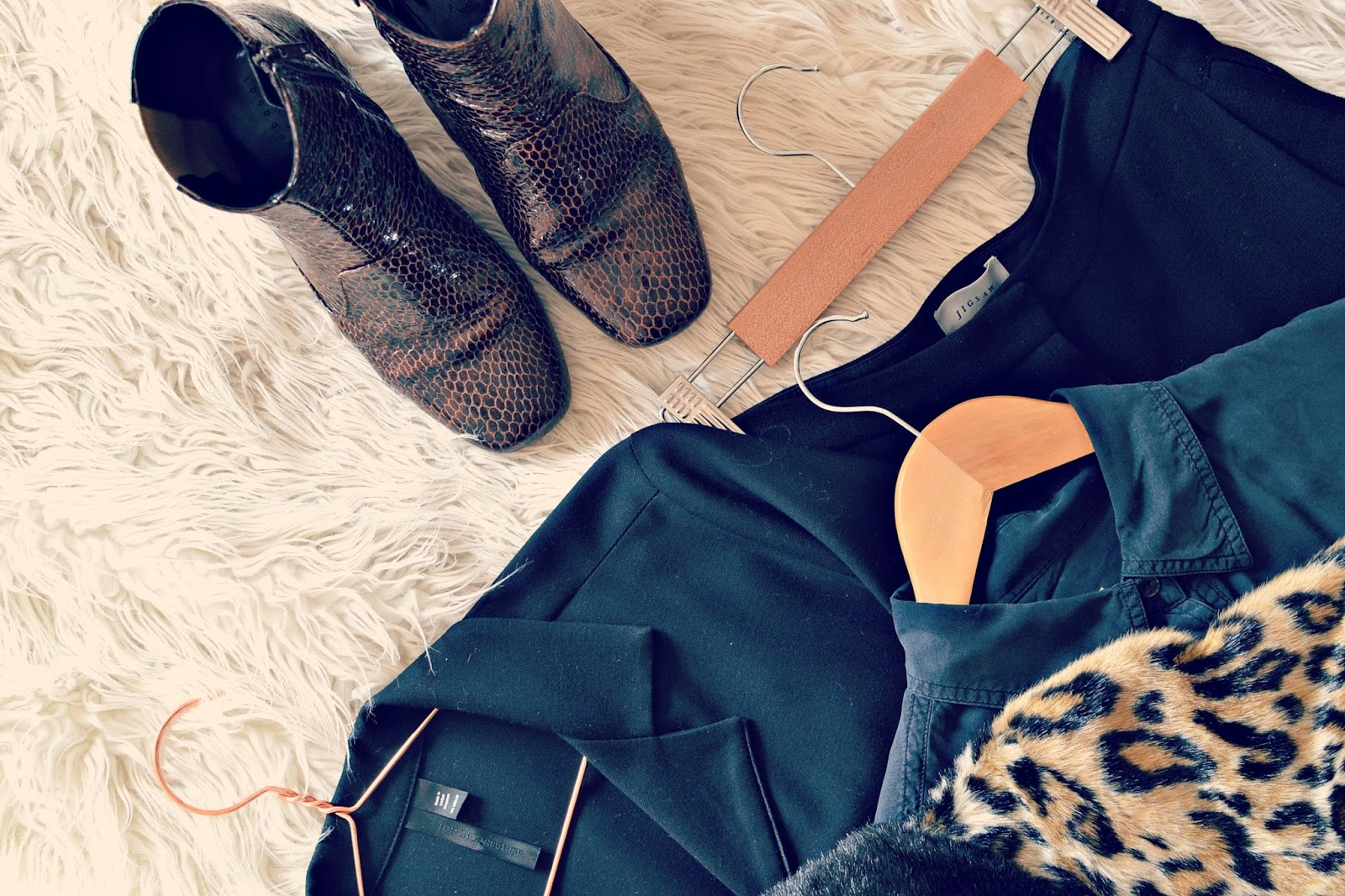 Capsule wardrobe winners, finery, boots, jigsaw, topshop, vintage, leopard print