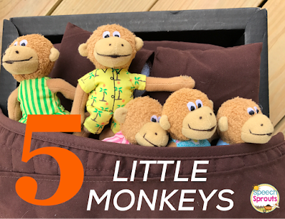 Five Little Monkeys Jumping on the Bed Speech Therapy Language Activities www.speechsproutstherapy.com