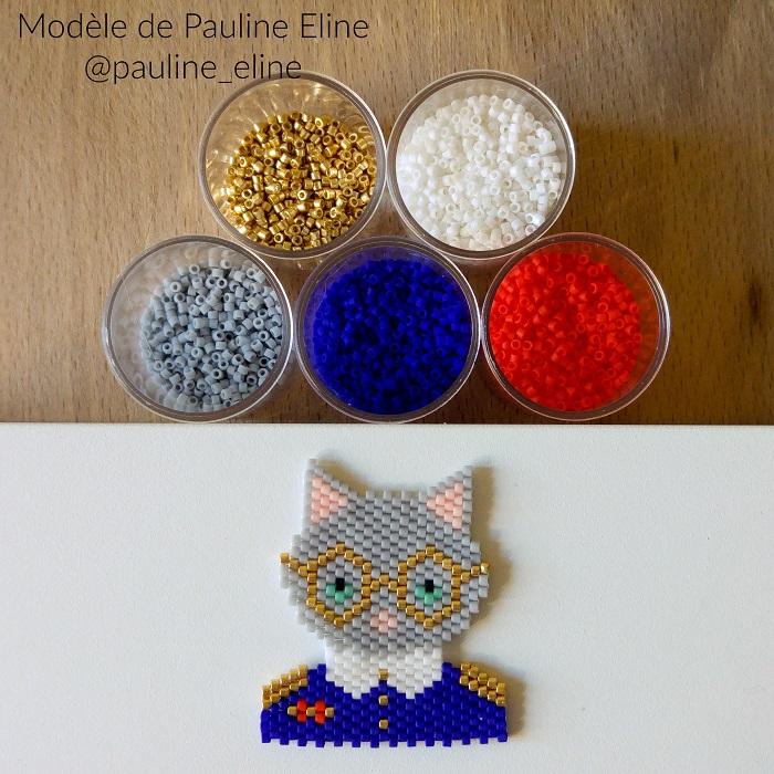 chat officier pauline eline, tissage brickstitch, perles delicas miyuki, hellocestmarine