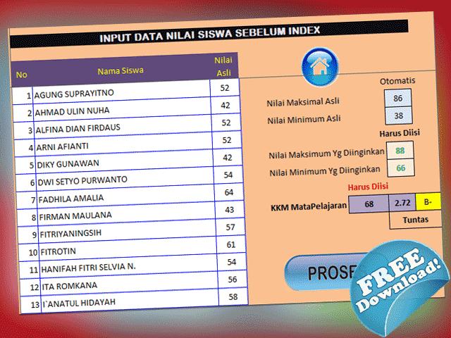 Download Aplikasi Konversi Nilai Ulangan Siswa Format Excel