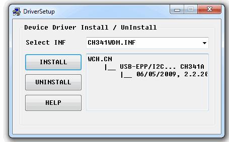 Jendela tampilan driver ch341a