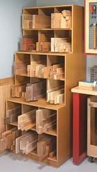 wooden square boxes stacked together to store different kinds of wood.