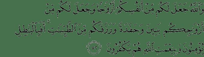 Surat An Nahl Ayat 72
