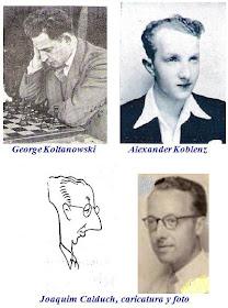 Fotos de los ajedrecistas George Koltanowski, Alexander Koblenz y Joaquim Calduch (también caricatura)