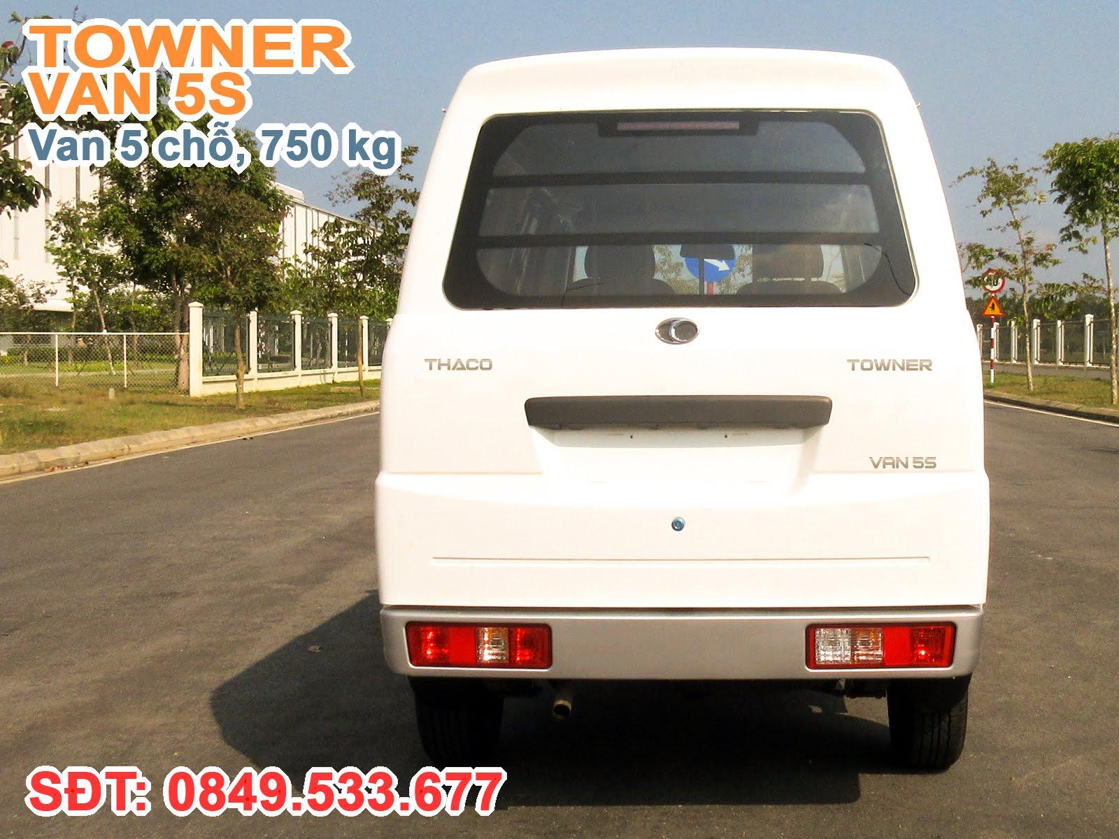 Xe Thaco Towner Van 5S, cabin có chiều rộng 1.535 mm