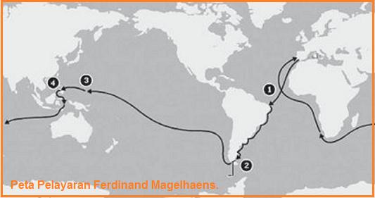 Peta Pelayaran Ferdinand Magelhaens.
