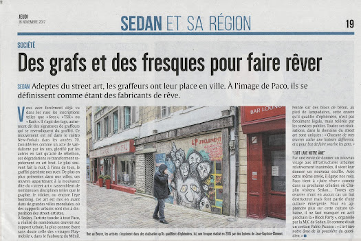 article de presse sur le street art dans les rues de sedan Paco illustrateur graphiste