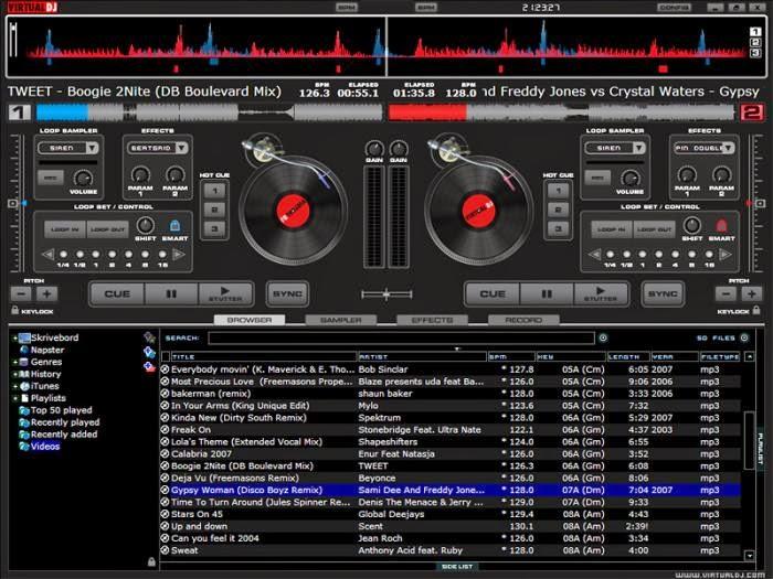 tablero de virtual dj mezclando cumbia guacharaca Swing Criollo, captura de virtual dj