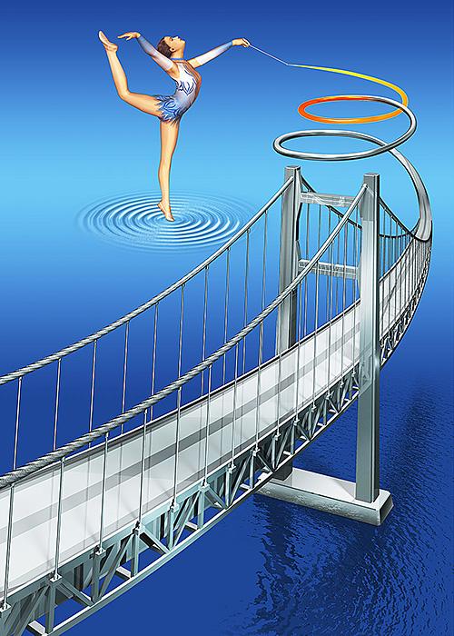 リアルイラスト、3DCG、新体操、橋、鋼鉄
