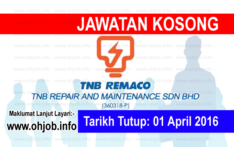 Jawatan Kerja Kosong TNB Repair And Maintenance (REMACO) logo www.ohjob.info april 2016