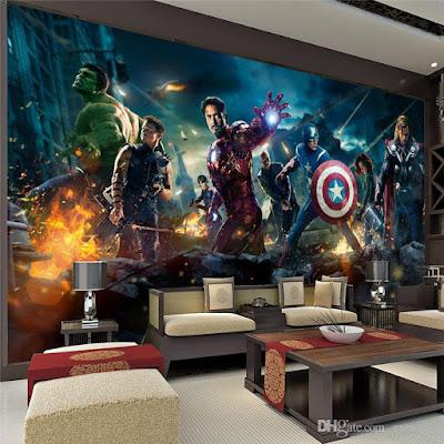 marvel tapet avengers fototapet iron man captain america hulk thor ungdomstapet pojktapet killrum