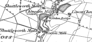Cheesden Pasture Mills, OS map, 1848.