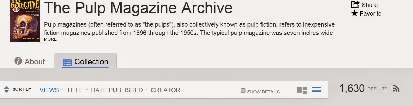 Screen shot of the Pulp Magazine Archive