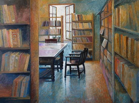 World of Books, painting by Chitra Vaidya (www.indiaart.com)