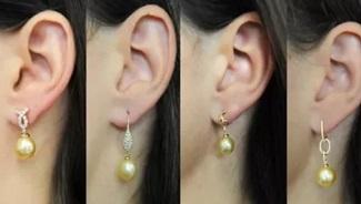 Golden South Sea Pearl Dangling Designer Earrings