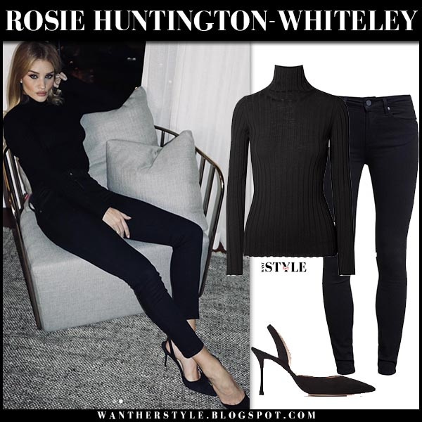 Rosie Huntington-Whiteley in black turtleneck sweater, black jeans and black pumps classic model outfit december 19