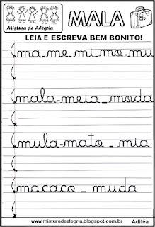 Atividade de reforço letra M