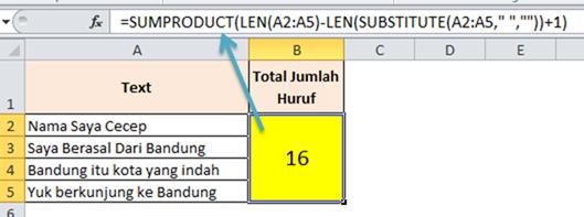 Contoh Formula Menghitung Jumlan Kata dalam Range Excel