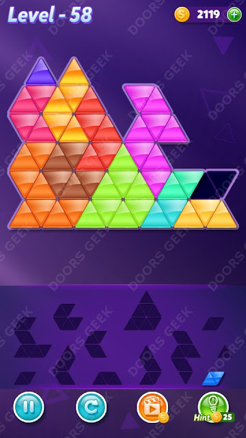 Block! Triangle Puzzle 12 Mania Level 58 Solution, Cheats, Walkthrough for Android, iPhone, iPad and iPod