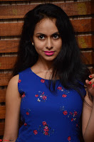 Pallavi Dora Actress in Sleeveless Blue Short dress at Prema Entha Madhuram Priyuraalu Antha Katinam teaser launch 002.jpg