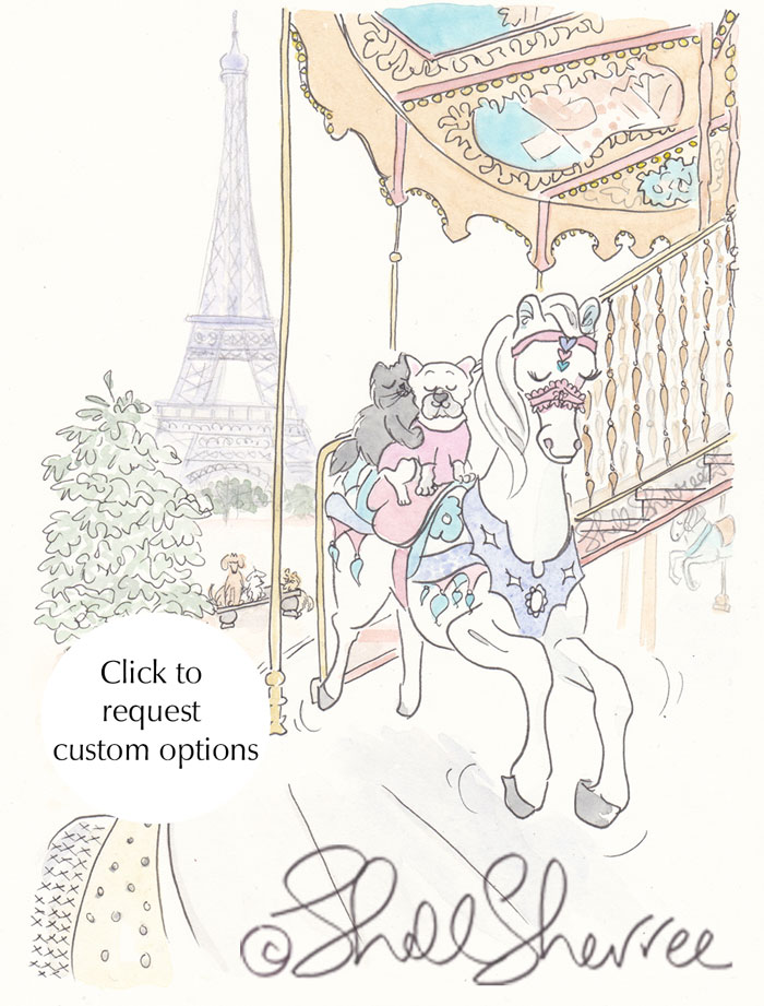Paris Runaway Carousel Pony, Frenchie & Kitty - Paris pets illustration  © Shell Sherree all rights reserved